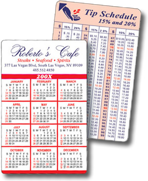 Laminated Full Color Calendar Cards
