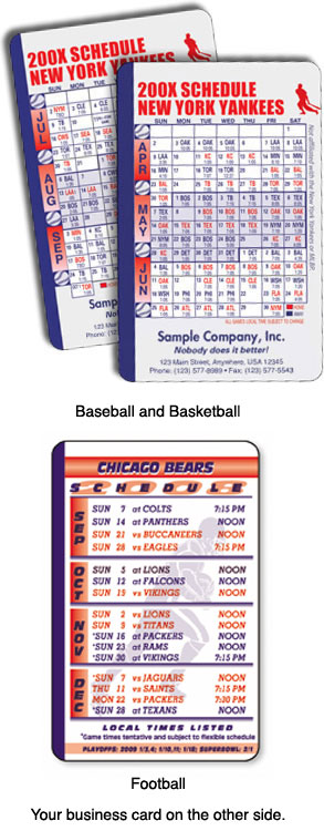 Laminated sports schedule cards